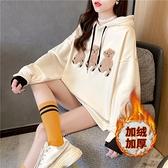 長袖上衣大學T2819實拍寬鬆韓版卡通刺繡冬季加絨衛衣外套女潮NE416.