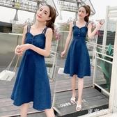 洋裝牛仔吊帶深藍洋裝2020夏季新潮款百搭修身大擺長裙子甜美XL3577【東京衣社】