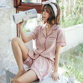 睡衣女夏季純棉短袖兩件套家居服