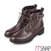 機車靴-TTSNAP 韓版綁帶造型側拉鍊短靴 棕