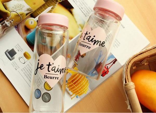 水杯   粉色系浪漫玻璃杯436ml水瓶 寬口杯 瓶子  愛心文字 隨行杯 水壺 【KCG072】-收納女王