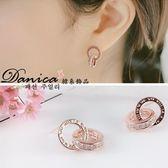 耳環 現貨 韓國時尚氣質甜美閃亮 微鑲 摩天輪 甜甜圈水晶 銀針耳環 S91282 Danica 韓系飾品