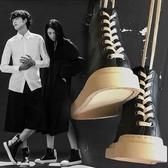 新款韓版復古高幫短靴女英倫風平底綁帶學生厚底增高馬丁靴潮