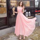 新款女裝沙灘長裙韓版修身氣質雪紡波西米亞洋裝 露露日記