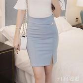 中大尺碼開叉裙職業包臀半身裙短裙一步裙韓版女裝 nm5516【VIKI菈菈】