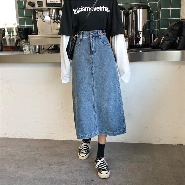 (免運)DE shop - 高腰牛仔裙中長款牛仔裙中裙半身裙 - HL-7017