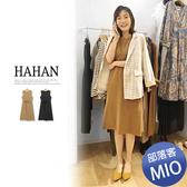 【HC4987】純色顯瘦壓褶綁帶針織洋裝