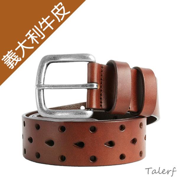 TALERF單層3排連續洞牛仔皮帶(深咖色/共3色)-情侶-男 /真皮 牛皮/台灣製造