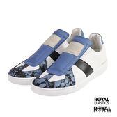 ROYAL 新竹皇家 SMOOTH 白色/深藍色 潑墨 套入式 休閒鞋 男款NO.A9979