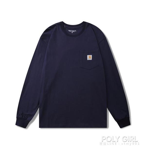 卡哈特carhartt經典款小標口袋長袖T恤潮牌ins男女情侶純色打底衫 秋季新品