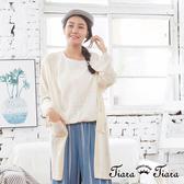 【Tiara Tiara】百貨同步aw 長短版閃耀長罩衫針織外套(米/駝) 漢神獨家 秋冬外套