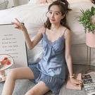 吊帶睡衣 帶胸墊性感睡衣女士夏季薄款冰絲吊帶兩件套裝棉綢絲綢夏天家居服