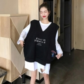 秋季新款韓版網紅V領bf寬鬆百搭黑色坎肩工裝背心馬甲女ins潮 韓國時尚週