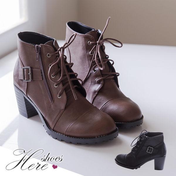[Here Shoes]2色 側開拉鍊皮革機車靴 6.5CM增高工程靴  拉鍊粗中跟短靴 馬丁靴 ◆MIT台灣製─KT2192