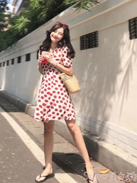 雪紡洋裝 裙子女短袖夏季新款復古甜美洋氣減齡波點V領收腰顯瘦雪紡連身裙 suger