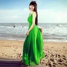 沙灘裙 波西米亞海邊沙灘裙夏長裙吊帶背心裙 純色V領顯瘦大擺雪紡洋裝-Ballet朵朵