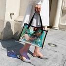 鐳射透明女包包PVC果凍包韓版百搭大容量側背包時尚新款手提包潮 果果輕時尚
