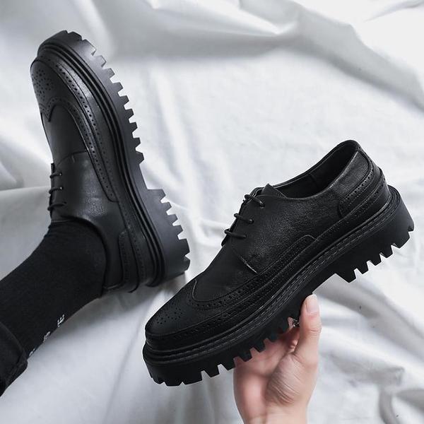 馬丁靴男款 春季新款大頭ins小皮鞋男士潮流百搭厚底英倫青年布洛克雕花男鞋