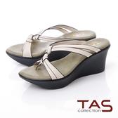 TAS立體雙結繫帶厚底楔型涼鞋-淡雅米