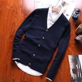 男士針織衫開衫長袖毛衣V領韓版修身純棉線衣外套春秋薄款外穿