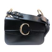 【台中米蘭站】全新品 CHLOE C Bag 滑面牛皮拚麂皮手提肩背二用包-小(黑)