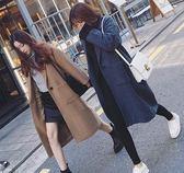 EASON SHOP(GU3601)長版毛呢長袖西裝外套女上衣開衫長款風衣大衣大口袋秋冬裝韓版寬鬆西裝領寬鬆