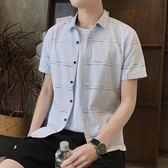 短袖格紋襯衫 男夏季男士韓版修身潮流學生襯衣《印象精品》t369