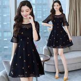 洋裝-胖mm夏裝新款大碼女裝微胖仙女洋氣時髦減齡顯瘦遮肚連身裙女 Korea時尚記