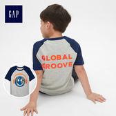 Gap男童 妙趣圖案插肩短袖圓領T恤 472669-亮紅條紋