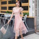 林志玲穿的款式 #荷葉袖精緻亮片#蕾絲刺繡~晚宴中長裙洋裝#謝師宴#晚宴#婚禮#主持