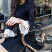 洋裝女秋冬禮服新款中長款名媛氣質韓版圓領顯瘦A字打底裙 時尚芭莎