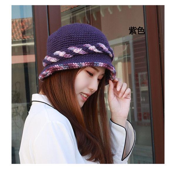 帽子女冬天加絨針織毛線帽 韓版純手工編織保暖羊毛帽甜美包頭帽