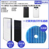 HEPA替換濾芯+活性碳組適用【SHARP夏普KC-JH50T-W KC-JH51T-W KI-JS50 KI-HS50水活力空氣清淨機】