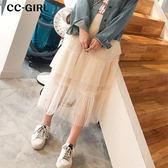 中大尺碼  層次蛋糕網紗長裙~共兩色 - 適2L~4L《 20012 》CC-GIRL