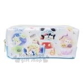 〔小禮堂〕迪士尼TsumTsum 防水皮質拉鍊筆袋《藍白.扭蛋機》鉛筆盒.化妝包.收納包 4991277-63292