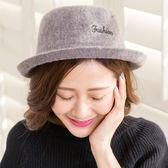 韓版復古百搭羊毛盆帽(灰)