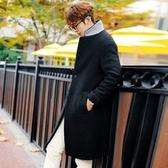 風衣外套-秋冬保暖毛呢帥氣中長版立領男大衣73ip42【時尚巴黎】