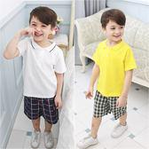 短袖套裝 純棉 POLO領 格紋 男童 短褲 褲子 2件套 Augelute 60024