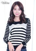 Victoria 蕾絲拼接條紋長袖線衫-黑底白條-Y6502088