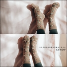 襪子  小花雙層針織地板襪.室內保暖襪  三色-小C館日系