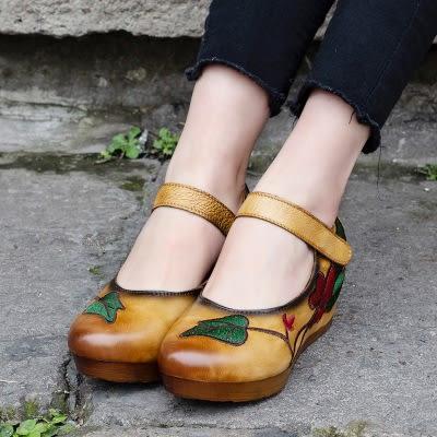 頭層牛皮中跟鞋 魔術體花朵繡花鞋 內增高橡膠底淺口鞋/2色-標準碼-夢想家-0227