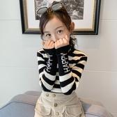 女童毛衣新款洋氣兒童打底衫黑白內搭中大童高領加絨加厚童裝