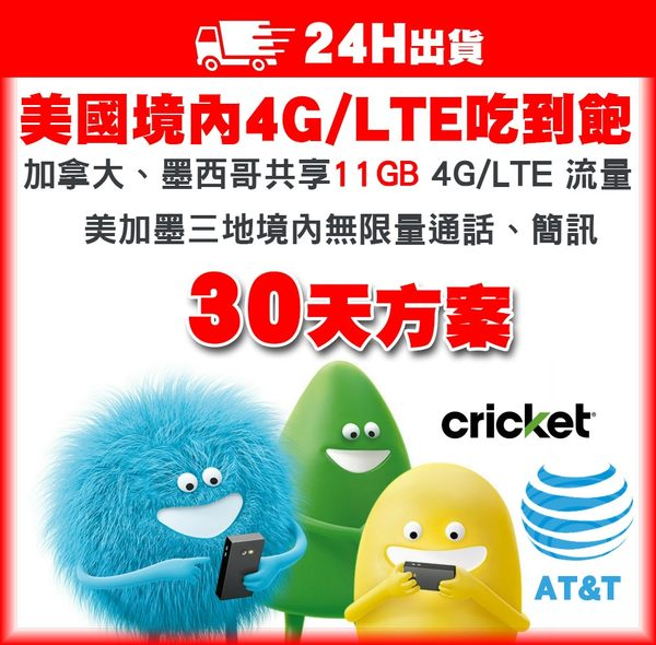 30天美加墨網卡 | 美國AT&T子公司Cricket 4G/LTE不降速吃到飽、含加拿大、墨西哥11GB高速流量