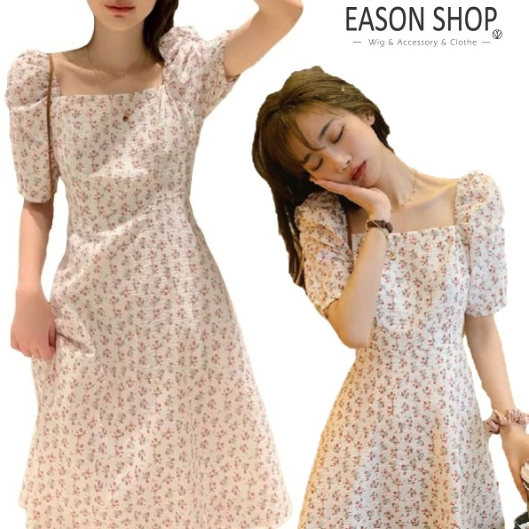 EASON SHOP(GW9907)韓版法式復古小碎花薄收腰方領泡泡袖短袖連身裙洋裝女上衣服短裙A字裙半身膝上裙