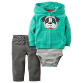 Carter's平行輸入童裝 男寶寶 連帽刷毛外套&短袖包屁衣&長褲 綠狗【CA121G765】