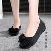 新款老北京布鞋女鞋平底軟底豆豆鞋單鞋時尚舒適孕婦鞋黑色工作鞋 酷男精品館