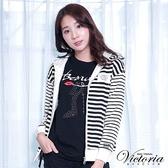 Victoria 繡標條紋連帽休閒外套-女