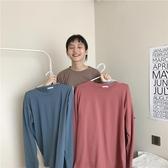 早春韓國百搭寬鬆蝙蝠袖套頭長袖T恤女顯瘦圓領純色上衣打底衫潮長袖T恤