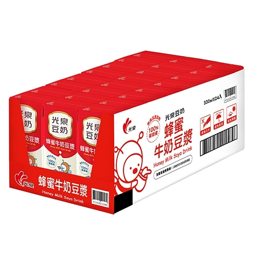 光泉蜂蜜牛奶豆漿330ml*24入/箱【愛買】