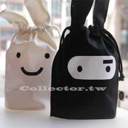 【199免運】韓版-忍者兔子可愛布藝收納袋 束口收納袋 雜物袋日用整理袋